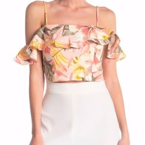 Joie Saphira Floral Crop Top Pink Linen Sz Large